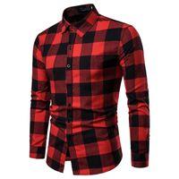 الرجال منقوشة قميص طويل الأكمام قميص الربيع العلامة التجارية رجالي متقلب القميص القطن قمصان رجالي عارضة زائد حجم يتأهل Camisa