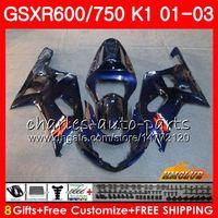 8Gifts Corpo para Suzuki GSXR600 GSX R750 K1 GSXR-600 GSX-R750 4HC.35 GSXR750 GSXR 600 750 01 02 03 2001 2002 2003 Todo o Kit de Feira Azul Escuro