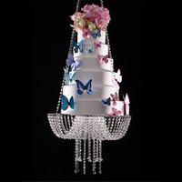 18 pollici di cristallo della torta di cristallo del lampadario della lampadario del lampadario Steend Swing Cake Stand Round Hanging Cake Stands Centerpiece