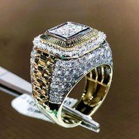 Hiphop europee e americane Trendy Hiphop artificiale diamante Anello di diamanti, anello di Belle denso Set zircone Uomo, Oro