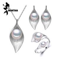 Mintha Taşlarla 925 Ayar Gümüş Küpe, Kadınlar Için doğal İnci Takı Setleri, bohem Yaprak Kolye Saplama Küpe Yüzükler J190718
