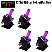 Control de Gigertop Etapa 4 unidades LED Co2 Jet Máquina 12X3W RGB LED DMX 3IN1 color cambiante del color auto flash estroboscópico Multi Angle Adjust