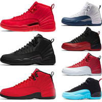 Zapatillas de baloncesto 12s baratos Winterized WNTR Gym Red Michigan Bordeaux 12 blanco negro The Master Flu Game zapatillas deportivas de deporte de taxi tamaño 7-13