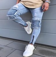 2019 new men' s cycling skinny jeans casual slim jeans p...