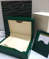 Beste Qualität 1: 1 Luxus dunkelgrüne Uhrenbox Geschenk Fall Uhren Booklet-Karten-Papiere in englischen Boxen