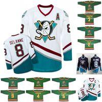 Mighty Ducks filme Jersey 2 Tammy Duncan 4 Les Averman 5 Tammy Duncan 6 gato Gaffiney 7 Dwayne Robertson 8 Teemu Selanne camisas de hóquei