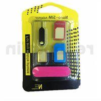 5 en 1 métal Nano Carte SIM carte Micro SIM Adaptateur standard pour iPhone 6/5 / 4S / 4 cellules avec Eject Pin avec détail