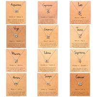 Hot 12 Colliers zodiaque avec signe constellation carte cadeau Pendentif chaîne d'or pour les hommes Collier femmes Bijoux Mode en vrac A0078