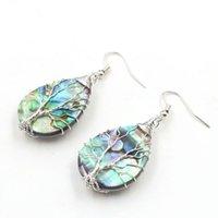 10 paia argento placcato oro orecchini filo avvolgere molti stile abalone shell per le donne albero della vita gioielli