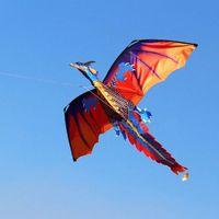 3D Dragon Kite sola línea con cometas de cola divertido al aire libre juguete kite familia deportes al aire libre juguete niños niños dinosaurio kite