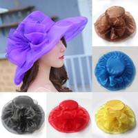 1pc femmes Robe large Brim chapeaux de mariage église occasionnelle Organza Costume Hat