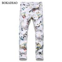 BOKADIAO uomo di moda i jeans personalizzati moda Stampa jeans diritti per gli uomini pantaloni bianchi selvatici pantaloni in denim slim maschio Streetwear