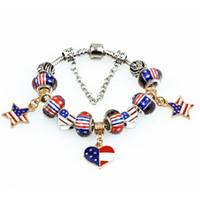Bracciali Cuore Pandora Design bandiera degli Stati Uniti della stella dei monili di fascini per le ragazze braccialetto Handmade di cristallo Donne d'argento modo borda Bangles