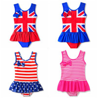 Baby Girls Swimwear UK American flag Girl Bathing Suit One P...