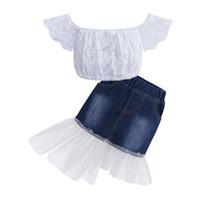 Neue Art und Weise beiläufige Kleinkind-Kind-Baby-Kleidung stellt Sommer-Kleidung Spitze weg Schulter-Tops + Denim-Kleid-Rock Outfits 0-7Y