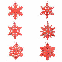 6PCS White&Red Christmas Snowflakes Wooden Pendants Ornament...