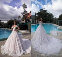 Sexy casamento Lace completa Vestidos Off Ombros 3D-laço floral apliques vestidos de noiva com espartilho Voltar Tulle Longa Cauda