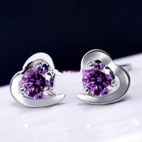New York Mode Merk Toon Liefde Hart Oorbellen Hoge Kwaliteit Crystal Zilveren Paars Kleuren Fijne Sieraden Voor Vrouwen Meisjes Gratis Verzending