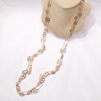 moda Satış Bakır kadın için Altın gümüş Takı Yeni Domuz Burun Kelime Uzun Kolye Triko Zincir gül