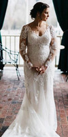 2019 Plus Size Mermaid Wedding Dresses Long Sleeves Beaded L...