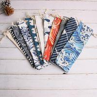 Bolsa de organizador de almacenamiento de vajilla portátil de estilo japonés Bolsas de tela con cordón de viaje Estuche para cuchara de paja Tenedor Cuchillo 33 colores