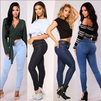 Verão quente das mulheres cintura alta jeans stretch moda calças justas denim Slim lápis jeans casual jeans das mulheres calças quentes das mulheres