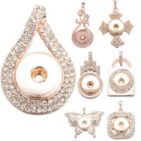 12 Styles Rose Gold Colore Strass NOOSA Ginger Snap Button Gioielli Charms a scatto Collana pendente 18mm