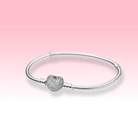 925 стерлингового серебро браслеты ювелирных изделий DIY для Pandora Moments игристых сердец Застежки Змей цепи Подвеска Браслета с оригинальной коробкой для женщин