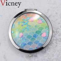 Vicney New arrival Double-sided Mirror Women Foldable  Mirrors Lady Cosmetic Hand Folding Portable Compact Pocket Mirror