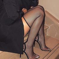 Stivali delle calze della donna Boots Tacchi alti della meschina di mezza vitello Stivaletti a punta cavo Stivaletti sexy Sexy sopra gli stivali delle donne del ginocchio. XZ-005.