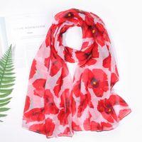 Mode Mohnblume Blume Print Scalves Wrap Tücher Frauen Trendy Blumenschal Strand Weiche Hijib 4 Farbe