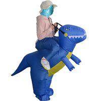 Tamanho livre fantasia equitação Dinosaur Costume Adult inflável roupa do carnaval festa de Natal Halloween poliéster Mascot trajes Suit