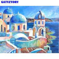 GATYZTORY Rahmen Diy Malen nach Zahlen Schloss Acrylfarbe nach Zahlen handgemaltes Wand-Kunst-Bild Moderne Home Dekore 40x50cm