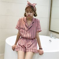2019 Summer Cute 2pcs Pajama Sets Women Striped Sleepwear Sh...
