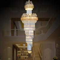 Lüks K9 Altın Kristal Avize ile Uzaktan Kumanda Luster Modern Led Merdiven Avize Aydınlatma İçin Salon Otel Villa LLFA