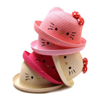 2019 New Baby Straw Hat Summer Kids Cartoon Cat Lovely Beach Cap With Knot bow Girls Solid Sun Hat