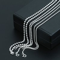 Personalizado 925 prata finas jóias feitos à mão colar de corrente bola designer no 2 tamanho (2 mm e cadeia de bola de 2,5 mm) presente casal
