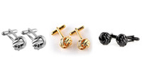 Français Style Noeud Knot Design Hommes Boutons de manchette Gold Silver Black Party Suit Chemise Boutons Mâle Gemelos personnalisés