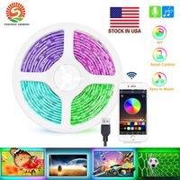 Estoque em US DIY 5050 RGB Faixa de LED Não-Impermeável DC 5V USB luz LED tiras de fita flexível fundo 300CM 3M Bluetooth app para TV