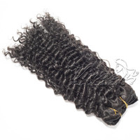 Перуанского волос кутикула выравнивание Natural Black Full Head Virgin 120г 140г 160г Клиент Customized Kinky завитый клип в наращивании волос