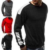 Mens Pullover European Size Large Size Sport Shirts Fleece Arm Colour Matching Round collare Thin Hoddie