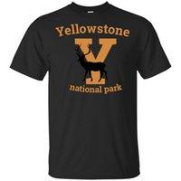 Vintage Yellowstone Milli Parkı Yeni Tasarım Tişört Siyah-Lacivert İçin Erkekler-Kadınlar Günümüze Casual Tee Gömlek