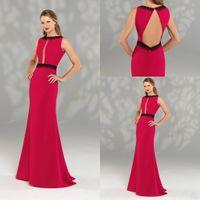 2020 a-line Red Mother of the Bride Dress Jewel без рукавов аппликация полые длиной до пола на заказ элегантный длинный формальный вечернее платье дешево