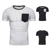 Neck Short Sleeve Tees Mens Clothing Mens Designer Striped Panelled T-Shirts Fashion Pocket Natural Color Tees Casual Crew