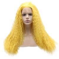 Lange lockige Spitze-Front-synthetisches Haar-Gelb Cosplay Partei-Perücke Hitzebeständige Faser