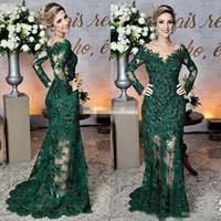 2020 Темно-зеленый мать невесты платья Sheer Jewel Шея Кружева Аппликации с длинным рукавом Русалка Формальное вечернее платье