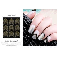 NA011 Gold Metal 3D Nail Stickers Stripes Wave Line DIY Nail...