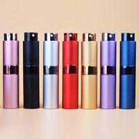 8ML 15ml Tragbares Dreh Sprühflasche eloxierten Aluminiumparfümflaschen Glasparfümöle Diffusoren makeup Atommizer Abfüllrohr Spray