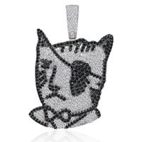 Hip Hop Korsan Kedi Erkekler Kadınlar Bling Bling Parti Takı Hediyesi için Siyah Zirkon Gümüş LIL UZI Vert Kedi kolye kolye Out buzlu