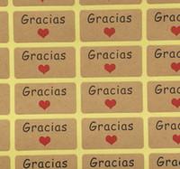 600 adet İspanya Teşekkürler Karahindiba Kraft Sticker Etiketleri Kırmızı Kalp Kraft Sticker Etiketleri Sızdırmazlık Yapıştırıcı Etiketler